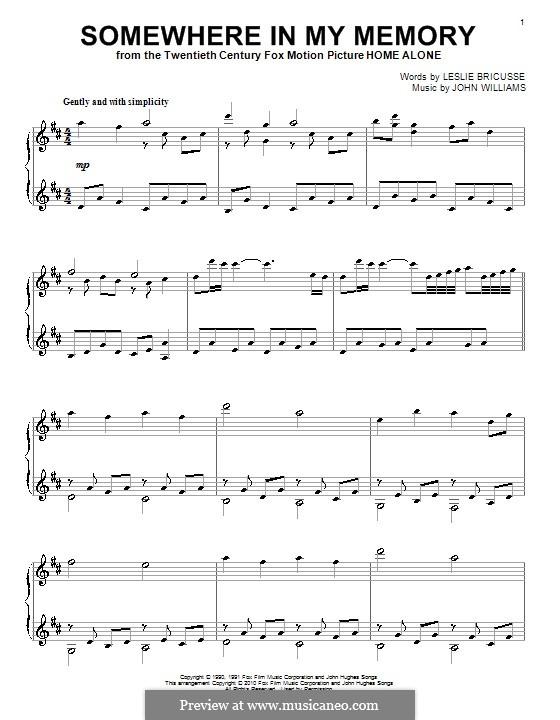 Somewhere in My Memory: Для фортепиано by John Williams