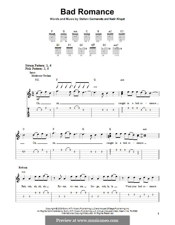 Bad Romance (Lady Gaga): Для гитары (очень легкая версия) by RedOne, Stefani Germanotta
