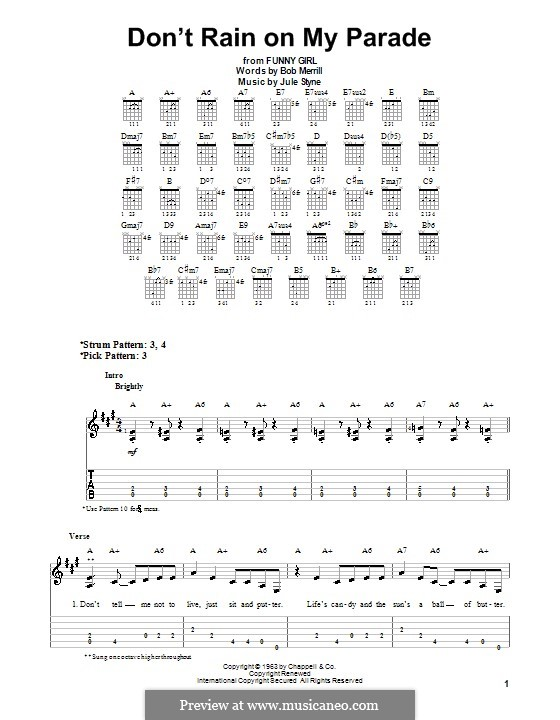 Don't Rain on My Parade: Для гитары (очень легкая версия) by Jule Styne
