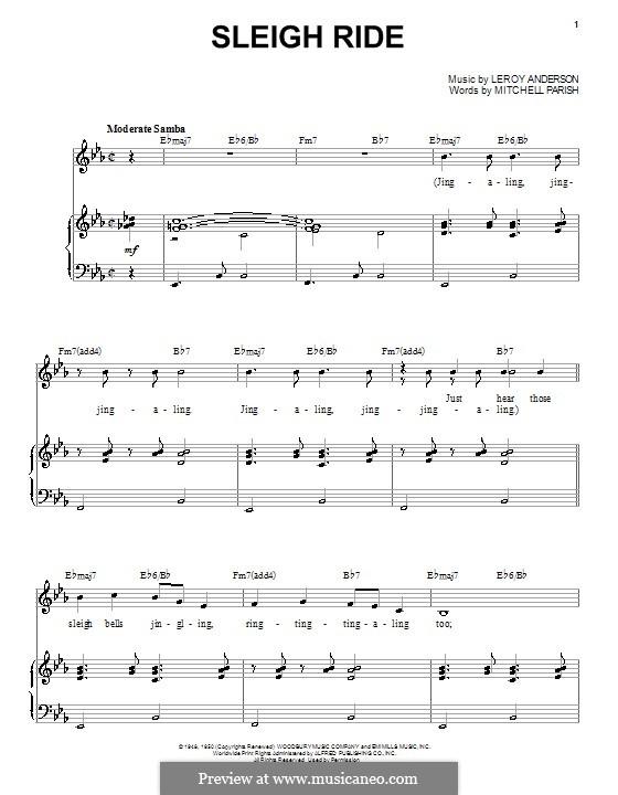 Sleigh Ride: Для голоса и фортепиано (или гитары) by Лерой Андерсон