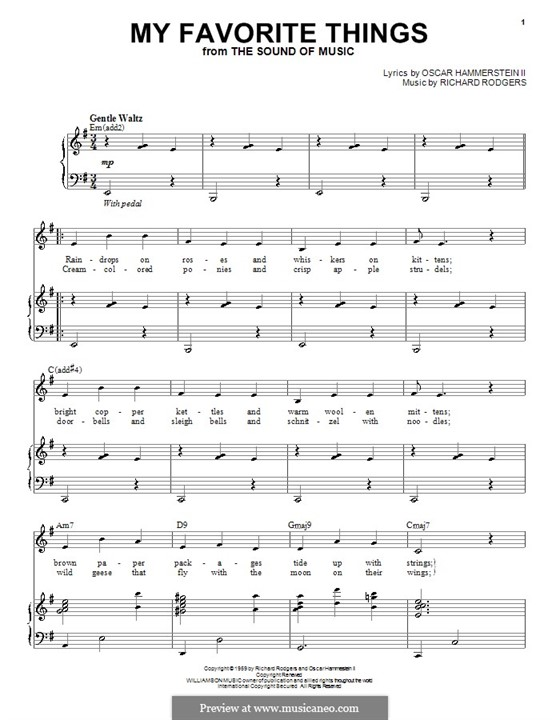 My Favorite Things (from The Sound of Music): Для голоса и фортепиано или гитары (E Minor) by Richard Rodgers
