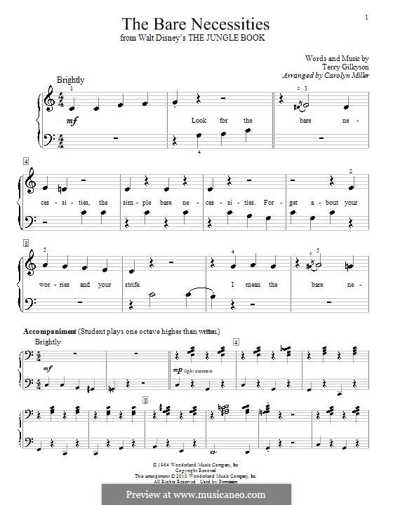 The Bare Necessities (from Disney's The Jungle Book): Для фортепиано (с аппликатурой) by Terry Gilkyson
