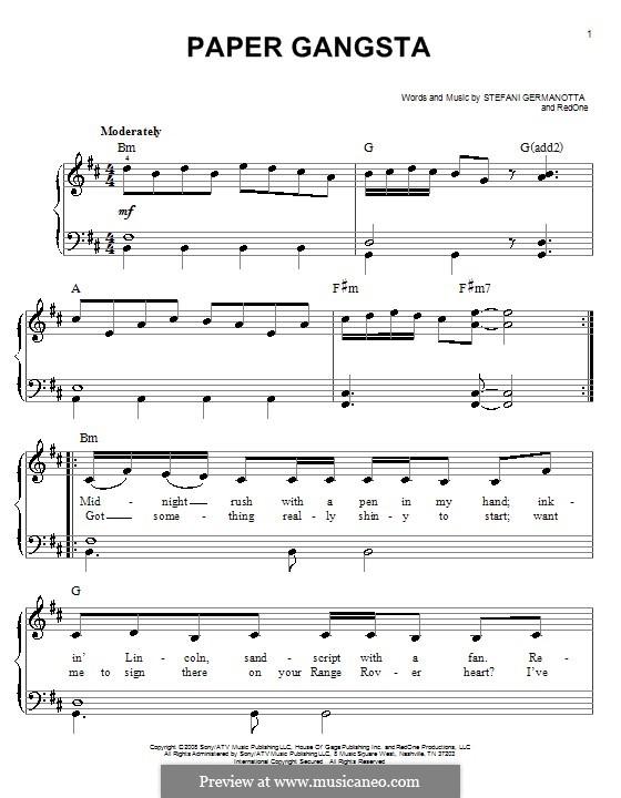 Paper Gangsta (Lady Gaga): Для фортепиано (легкий уровень) by RedOne, Stefani Germanotta