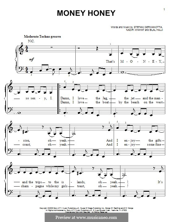 Money Honey (Lady Gaga): Для фортепиано (легкий уровень) by RedOne, Bilal Hajji, Stefani Germanotta