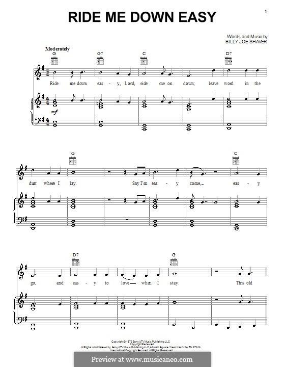 Ride Me Down Easy (Waylon Jennings): Для голоса и фортепиано (или гитары) by Billy Joe Shaver