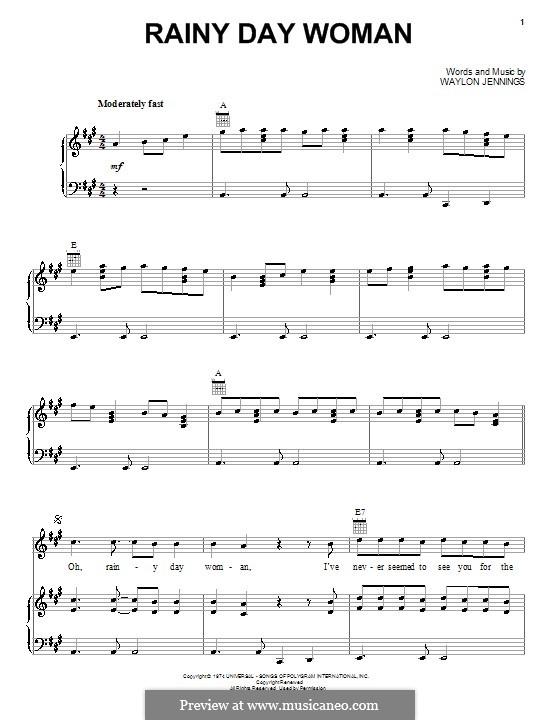 Rainy Day Woman: Для голоса и фортепиано (или гитары) by Waylon Jennings