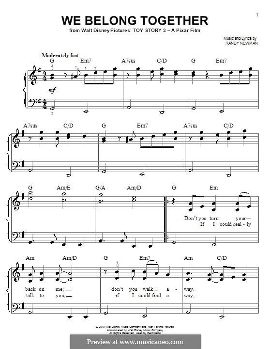 We Belong Together (from Toy Story 3): Для фортепиано (легкий уровень) by Randy Newman