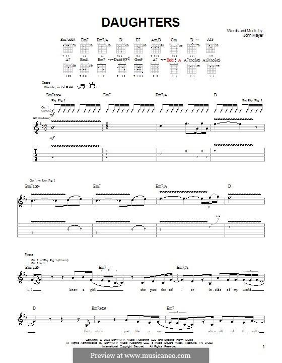 Daughters: Для гитары (очень легкая версия) by John Mayer