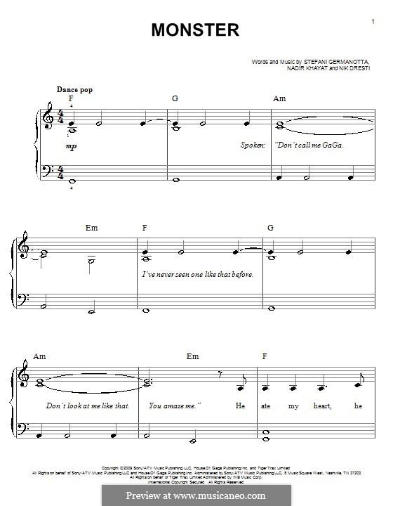 Monster (Lady Gaga): Для фортепиано (легкий уровень) by RedOne, Nick Dresti, Stefani Germanotta