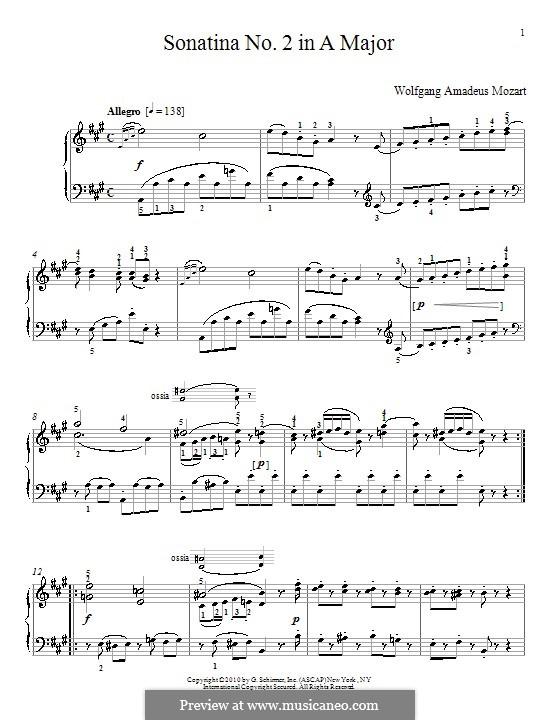 Сонатина для фортепиано ля мажор: Сонатина для фортепиано ля мажор by Вольфганг Амадей Моцарт