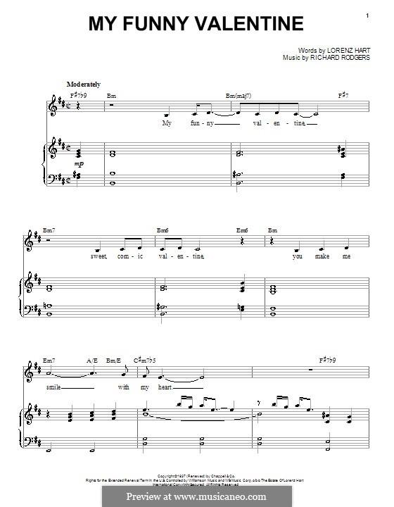My Funny Valentine: Для голоса и фортепиано или гитары (ноты высокого качества) by Richard Rodgers