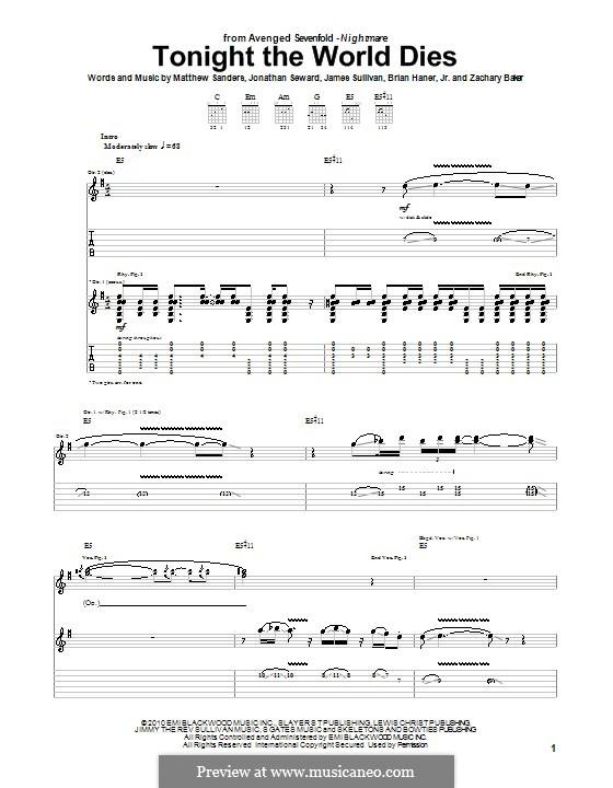 Tonight the World Dies (Avenged Sevenfold): Гитарная табулатура by Brian Haner Jr., James Sullivan, Jonathan Seward, Matthew Sanders, Zachary Baker