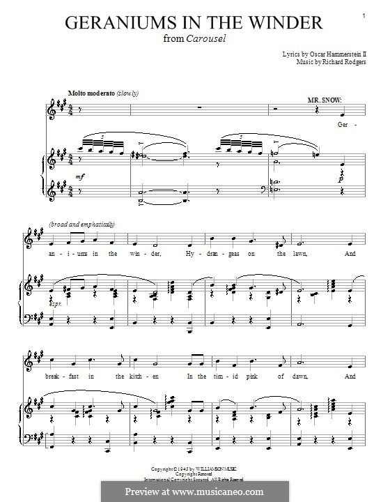 Geraniums in the Winder (from Carousel): Для голоса и фортепиано или гитары by Richard Rodgers
