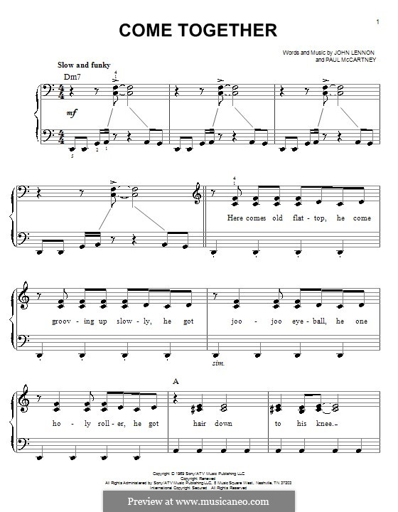 Come Together (The Beatles): Для фортепиано (легкий уровень) by John Lennon, Paul McCartney