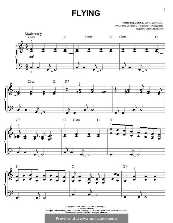 Flying (The Beatles): Для фортепиано (легкий уровень) by George Harrison, John Lennon, Paul McCartney, Richard Starkey