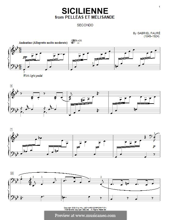 Сицилиана для виолончели и фортепиано, Op.78: Версия для фортепиано в четыре руки by Габриэль Форе