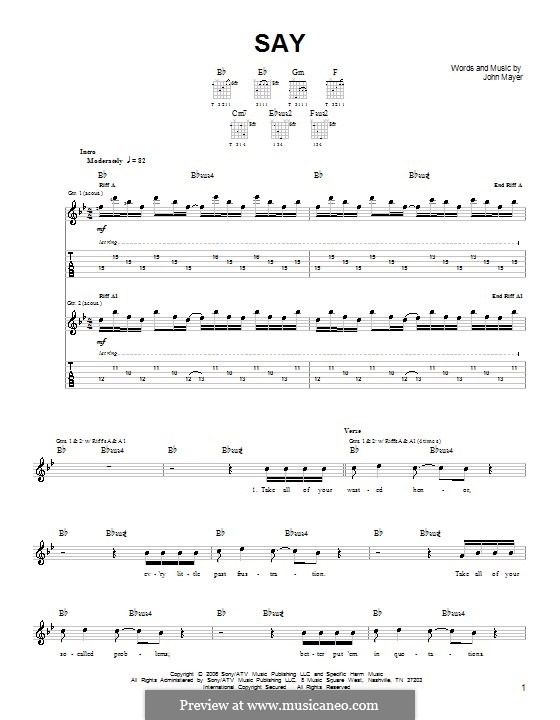 Say: Для гитары (очень легкая версия) by John Mayer