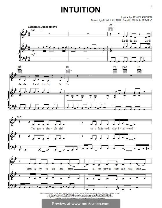 Intuition (Jewel): Для голоса и фортепиано (или гитары) by Jewel Kilcher, Lester A. Mendez