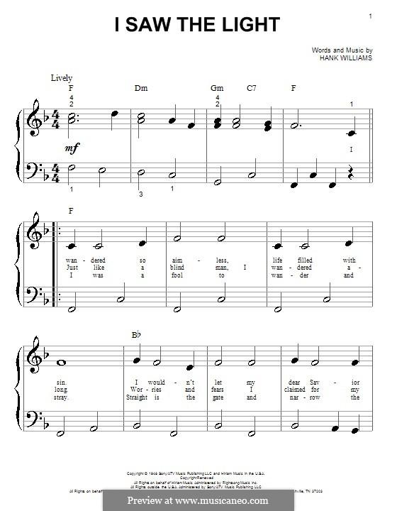 I Saw the Light: Для фортепиано (очень легкая версия) by Hank Williams