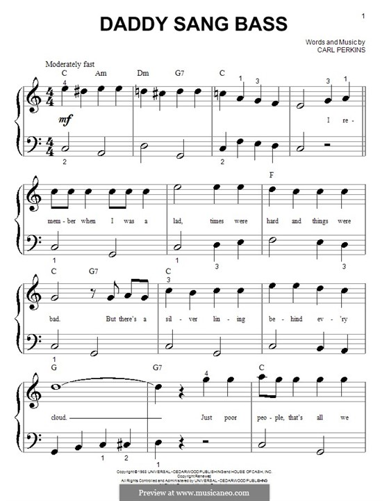 Daddy Sang Bass (Johnny Cash): Для фортепиано (очень легкая версия) by Carl Lee Perkins