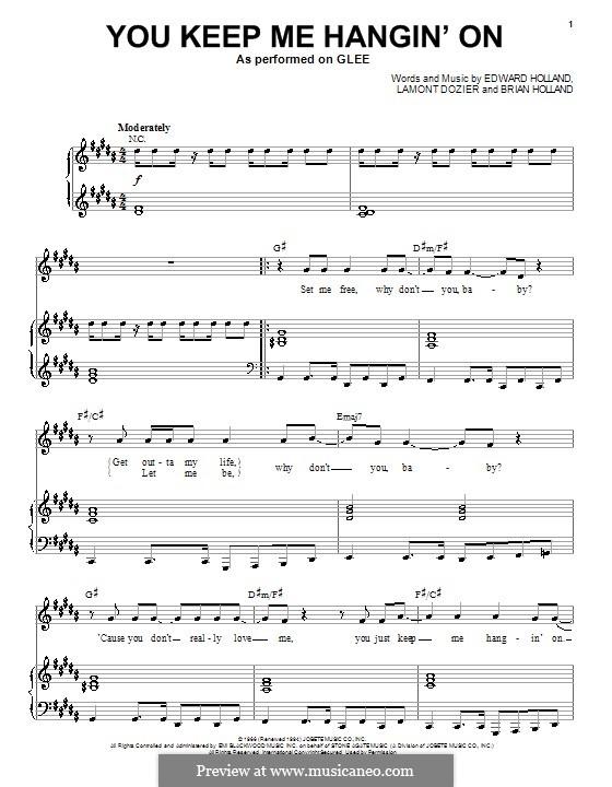 You Keep Me Hangin' On: Для голоса и фортепиано или гитары (Glee Cast) by Brian Holland, Edward Holland Jr., Lamont Dozier