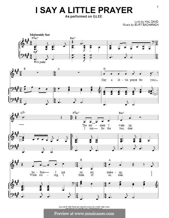I Say a Little Prayer: Для голоса и фортепиано или гитары (Glee Cast) by Burt Bacharach