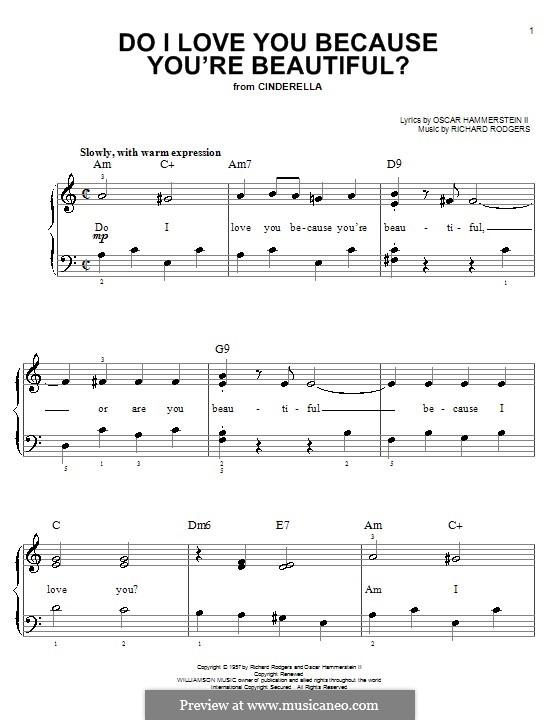 Do I Love You Because You're Beautiful?: Для фортепиано (легкий уровень) by Richard Rodgers