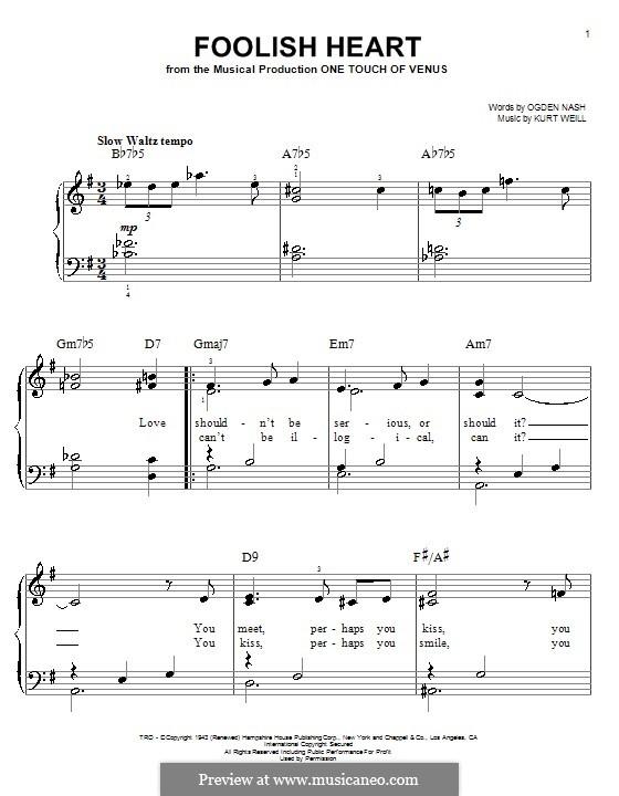 Foolish Heart: Для фортепиано (легкий уровень) by Kurt Weill