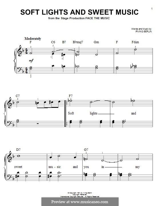 Soft Lights and Sweet Music: Для фортепиано (легкий уровень) by Ирвинг Берлин