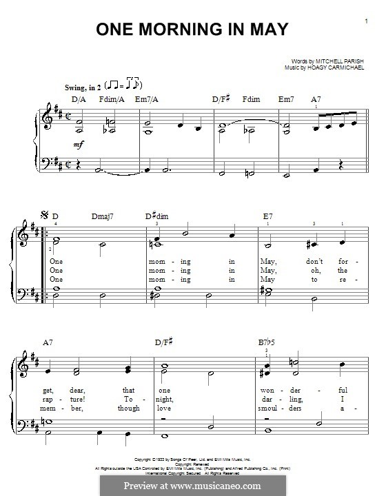 One Morning in May: Для фортепиано (легкий уровень) by Hoagy Carmichael