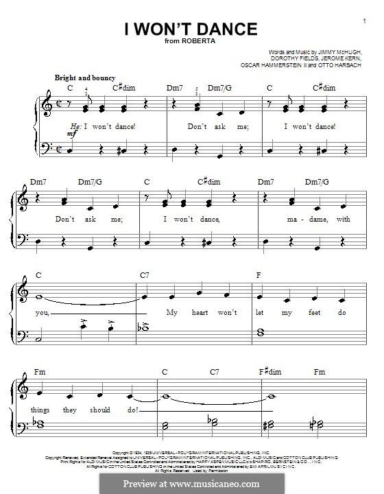 I Won't Dance: Для фортепиано (легкий уровень) by Джером Керн