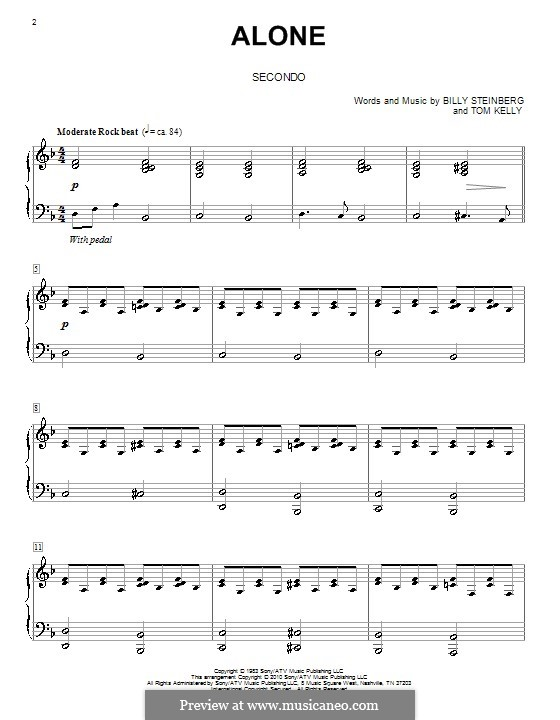 Alone: Для фортепиано в 4 руки (Heart) by Billy Steinberg, Tom Kelly