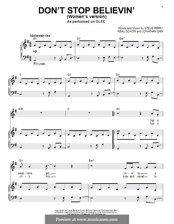 Don't Stop Believin': Для голоса и фортепиано или гитары (Glee Cast) by Jonathan Cain, Neal Schon, Steve Perry