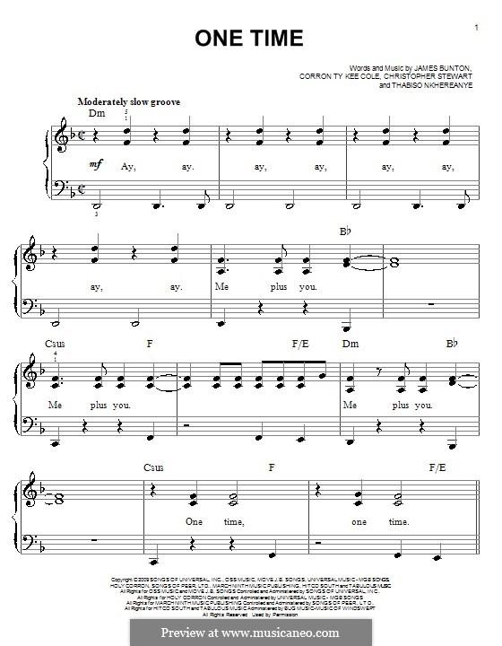 One Time (Justin Bieber): Для фортепиано (легкий уровень) by Tricky Stewart , Corron Ty Kee Cole, James Bunton, Thabiso Nkhereanye
