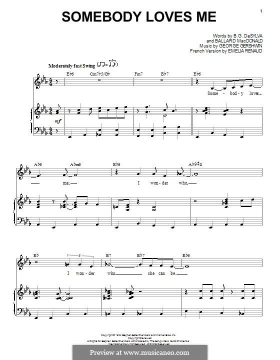 Somebody Loves Me: Для голоса и фортепиано (Frank Sinatra) by Джордж Гершвин