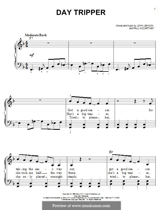 Day Tripper (The Beatles): Для фортепиано (легкий уровень) by John Lennon, Paul McCartney