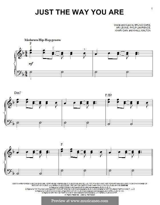Just the Way You are: Для фортепиано (легкий уровень) by Ari Levine, Khalil Walton, Khari Cain, Bruno Mars, Philip Lawrence