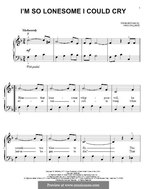 I'm So Lonesome I Could Cry: Для фортепиано (легкий уровень) by Hank Williams