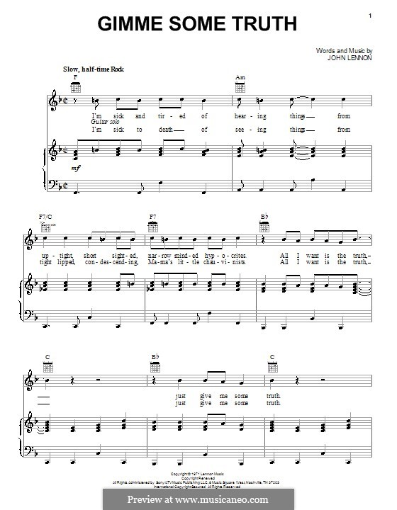 Gimme Some Truth: Для голоса и фортепиано (или гитары) by John Lennon