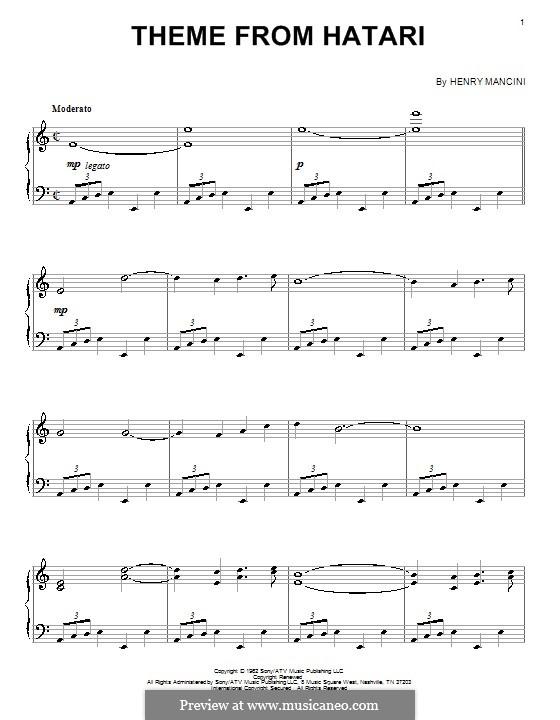 Theme from Hatari: Для фортепиано by Henry Mancini