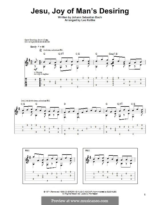 Jesu, Joy of Man's Desiring (Printable Scores): Гитарная табулатура by Иоганн Себастьян Бах