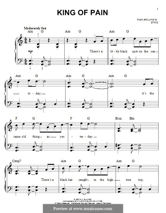 King of Pain (The Police): Для фортепиано (легкий уровень) by Sting