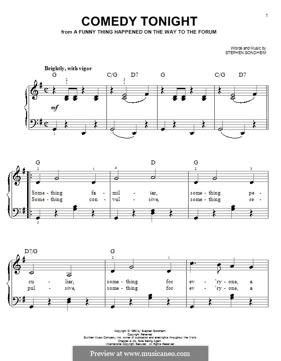 Comedy Tonight: Для фортепиано (легкий уровень) by Stephen Sondheim