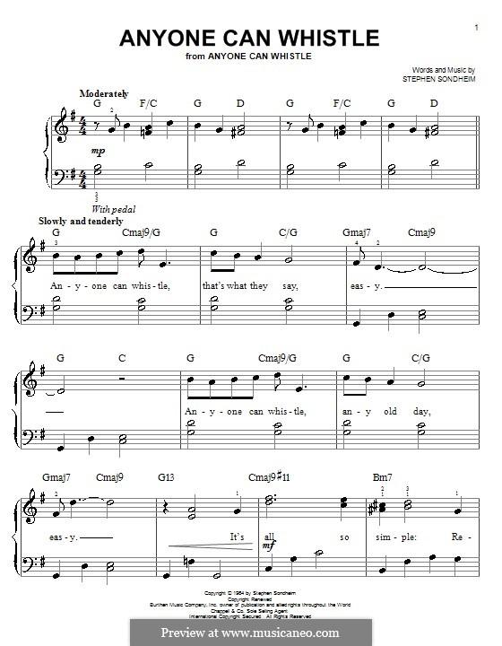 Anyone Can Whistle: Для фортепиано (легкий уровень) by Stephen Sondheim