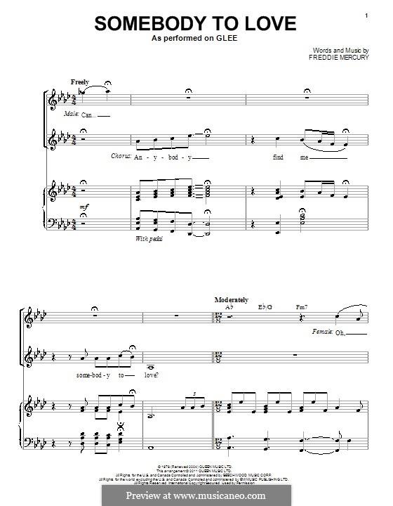 Somebody to Love (Queen): Для голоса и фортепиано (Glee Cast) by Freddie Mercury