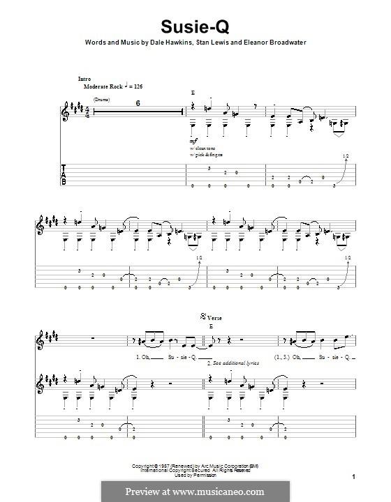 Susie-Q (Creedence Clearwater Revival): Гитарная табулатура by Dale Hawkins, Eleanor Broadwater, Stan Lewis