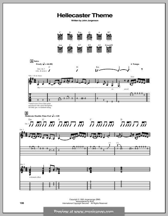 Hellecaster Theme (The Hellecasters): Гитарная табулатура by John Jorgenson
