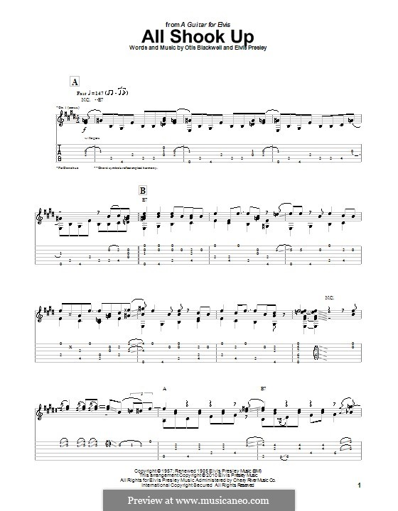 All Shook Up: Гитарная табулатура by Elvis Presley, Otis Blackwell