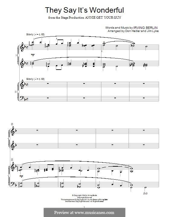 They Say It's Wonderful: Для фортепиано в 4 руки by Ирвинг Берлин