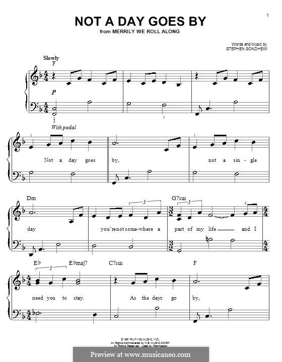 Not a Day Goes By: Для фортепиано (легкий уровень) by Stephen Sondheim